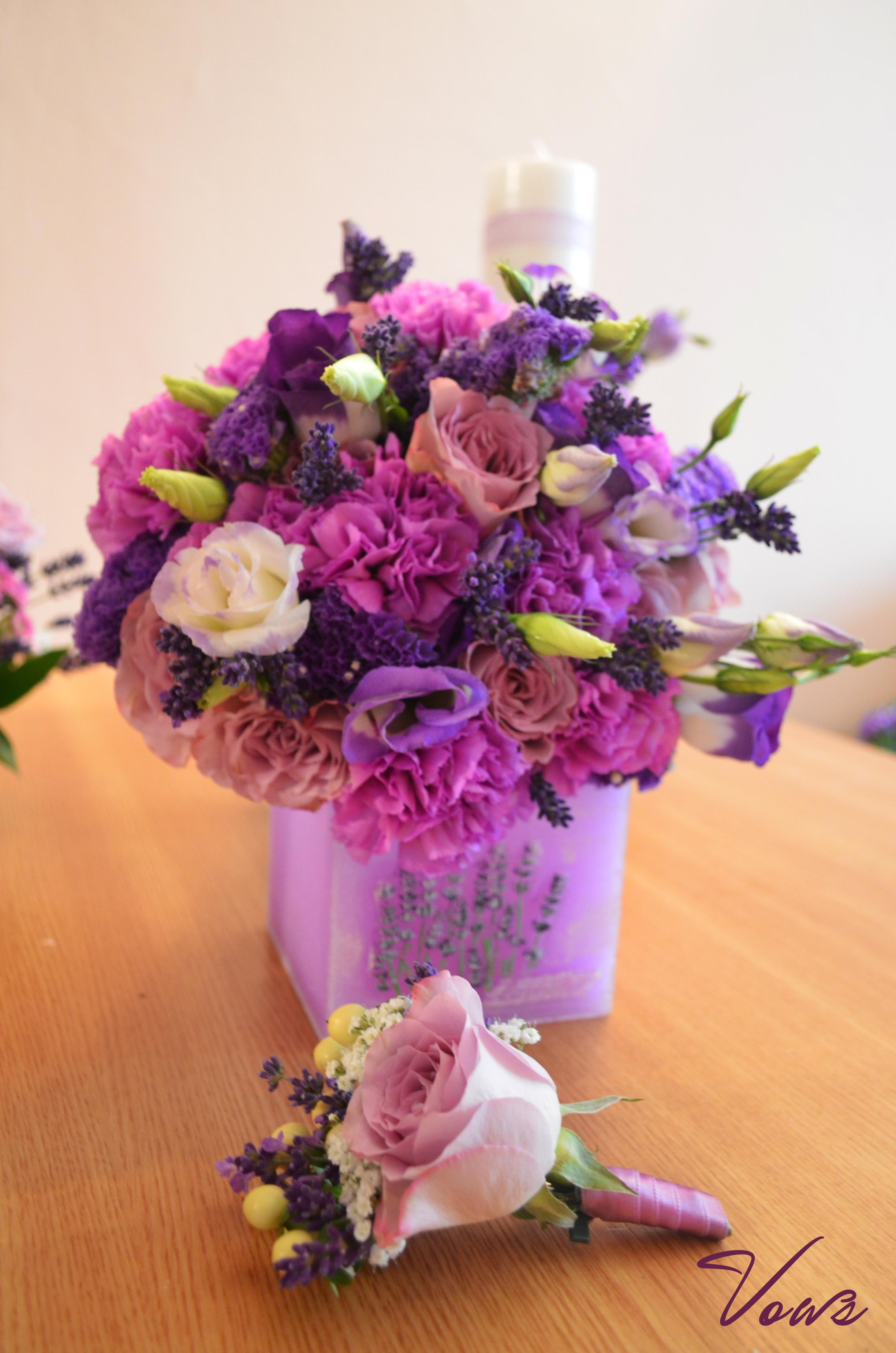 Buchet Mireasa Trandafiri Mov Si Lavanda Floraria Vows
